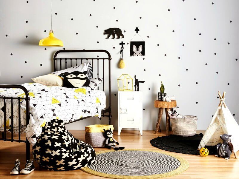 Monochrome Kids Room with Yellow Accents on The Life Creative Blog