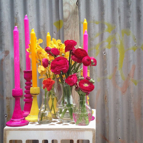 Pink and Yellow candles flower styling ideas on The Life Creative