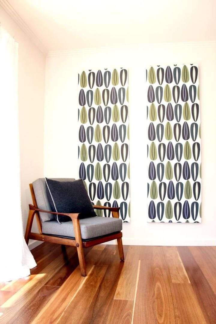 Retro fabric pattern feature wall ideas from Alex and Ella on The Life Creative