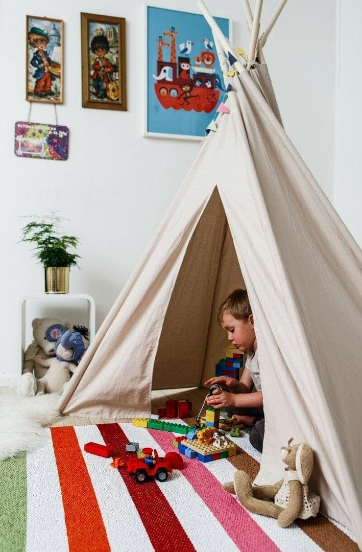 Striped Kids Rug with Teepee from Urbaani on The Life Creative
