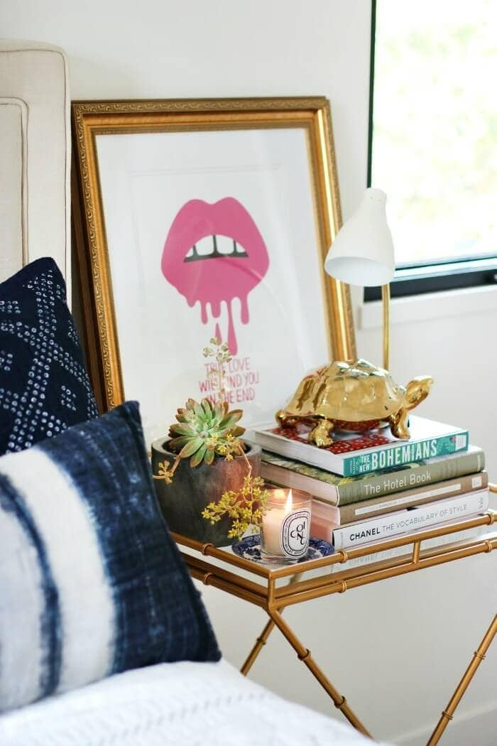 bedside table styling ideas vignette styling on TLC Interiors
