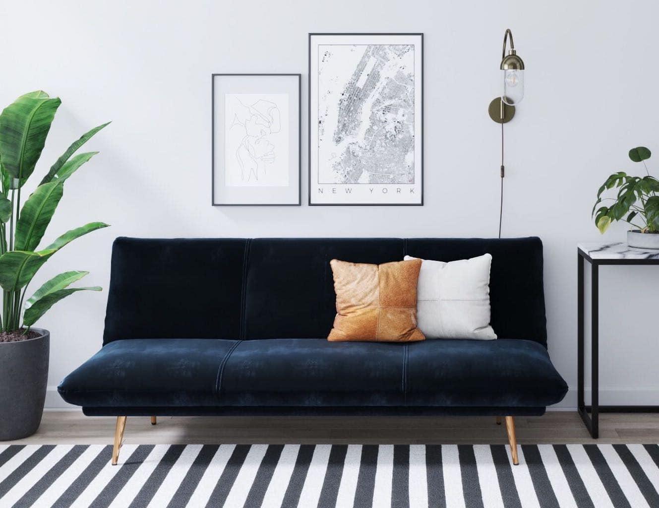 brosa navy blue velvet sofa bed review