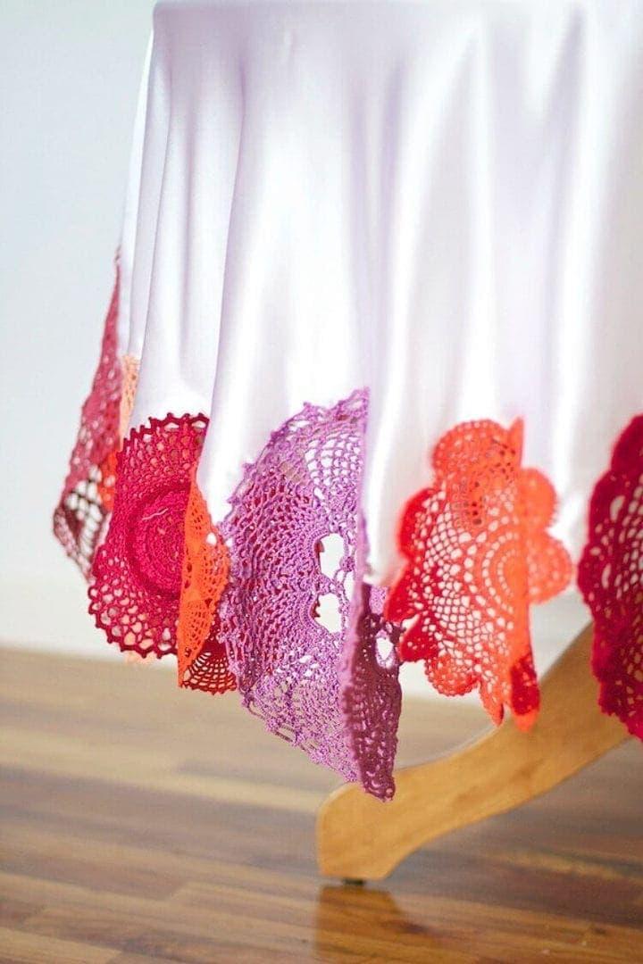 coloured crochet tablecloth doily ideas on The Life Creative