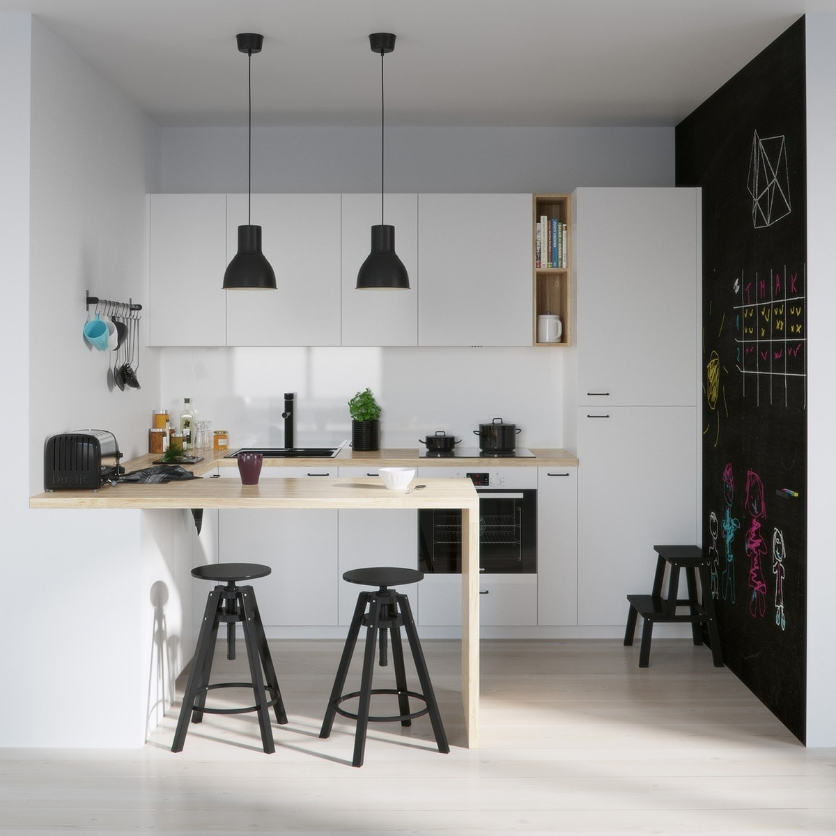 ikea dalfred stool in black in monochromatic kitchen