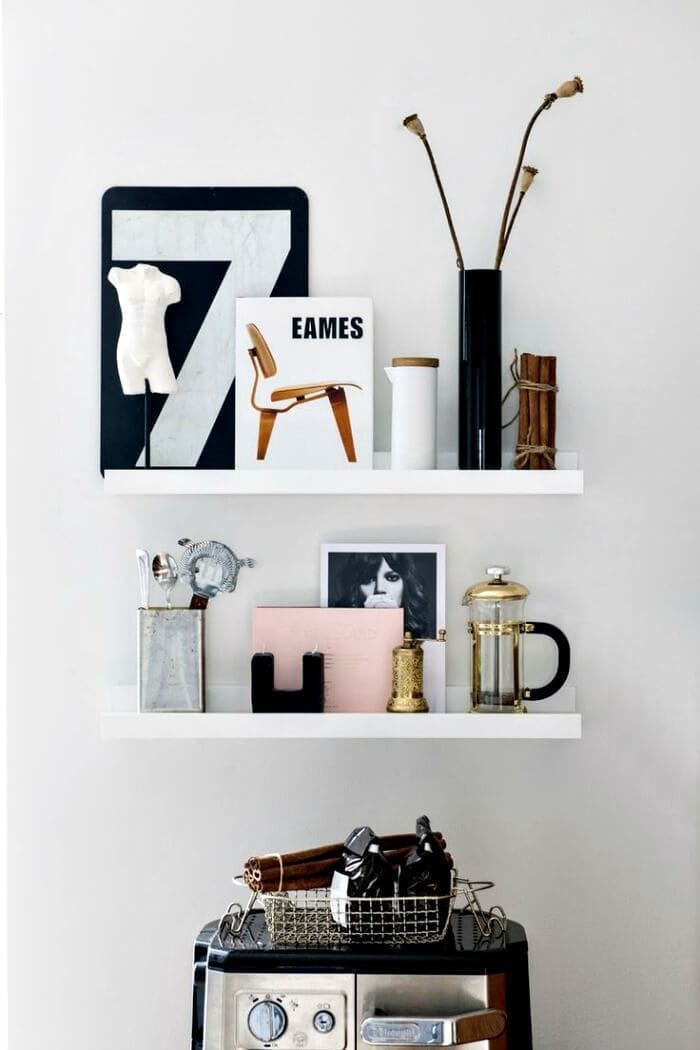 what is a vignette shelfie floating shelf vignette on The Life Creative