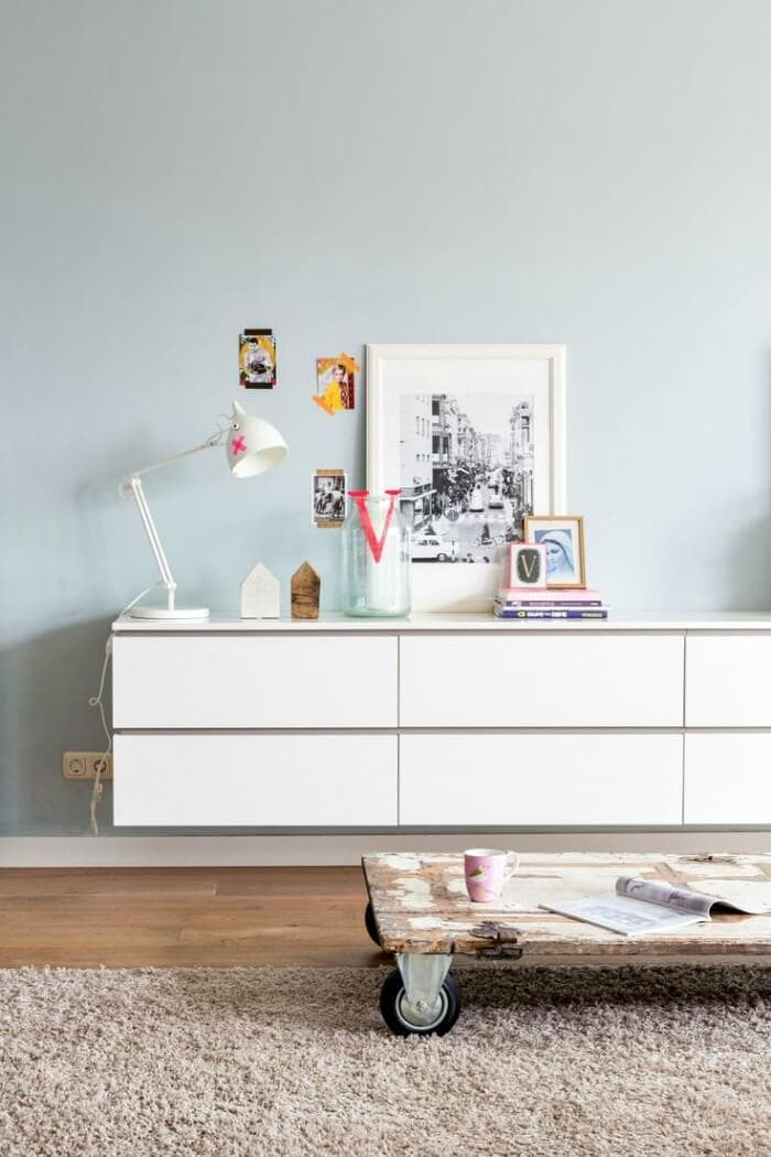 what is a vignette styling ideas white sideboard styling on The Life Creative