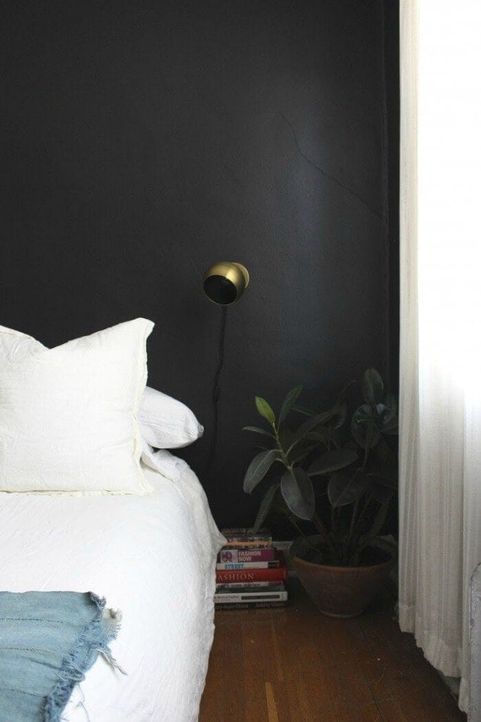 Bedroom paint colours black bedroom wall above bed The Life Creative