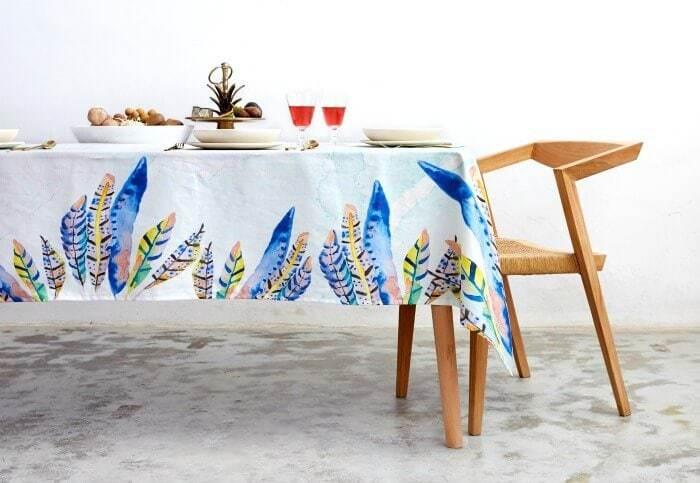 Charlie and Fenton leaf design tablecloth The Life Creative Urban Jungle range