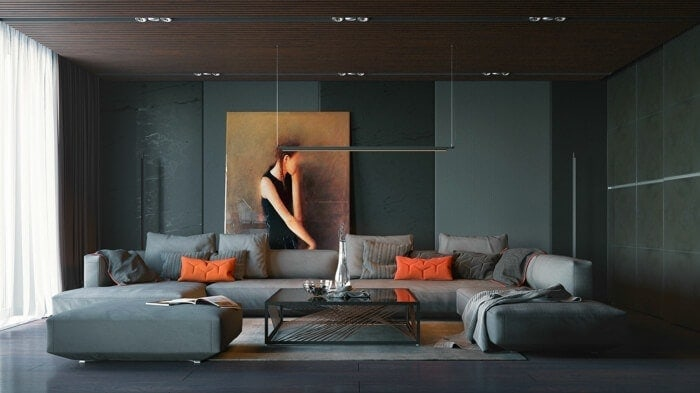 Dark Grey and Orange Living Room Ideas Autumn Colours on The Life Creative
