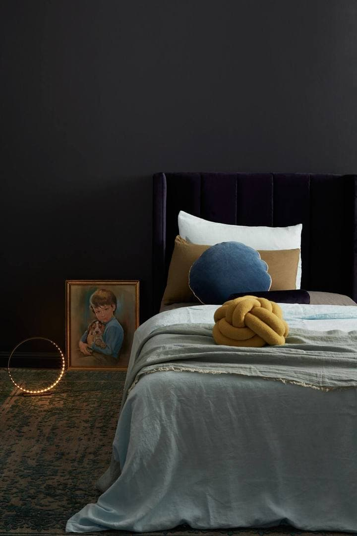 Incy Interiors Purple velvet bedhead TLC Interiors