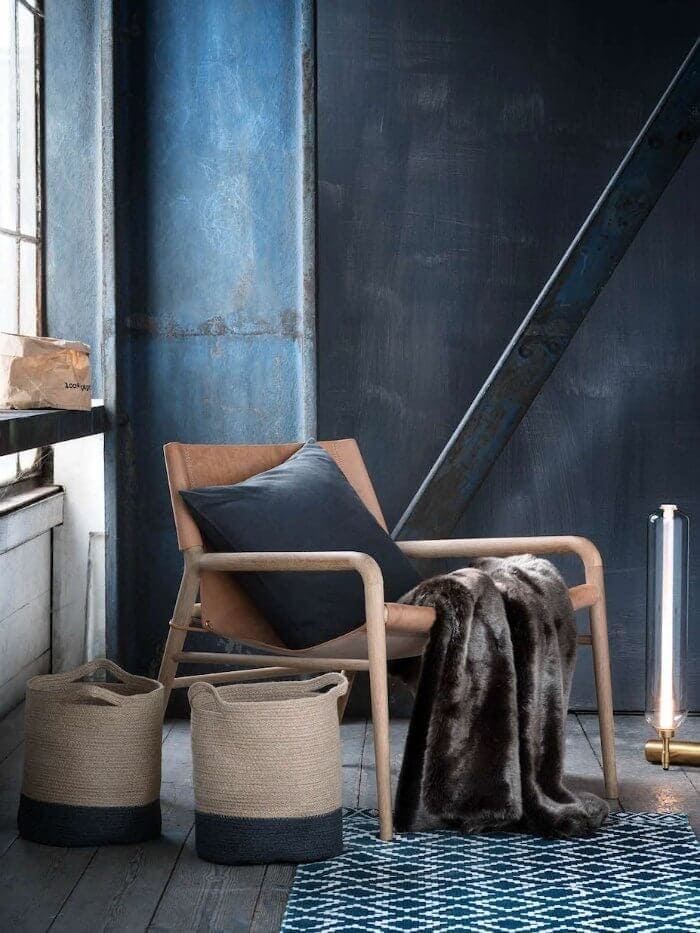 Leather armchair with faux fur throw on The Life Creative Autumn Decorating