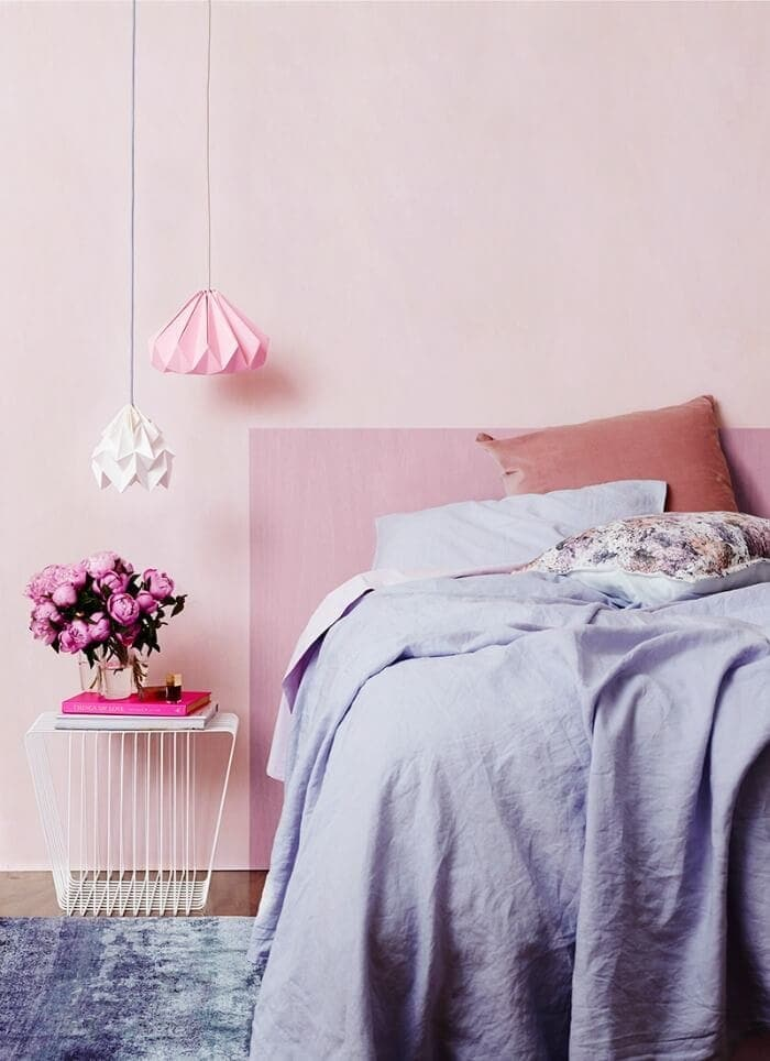 Pink feature wall pink bedroom walls soft pink walls The Life Creative Bedroom paint colours