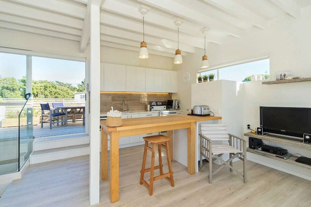 coastal kitchen with timber benchtop on The Life Creative