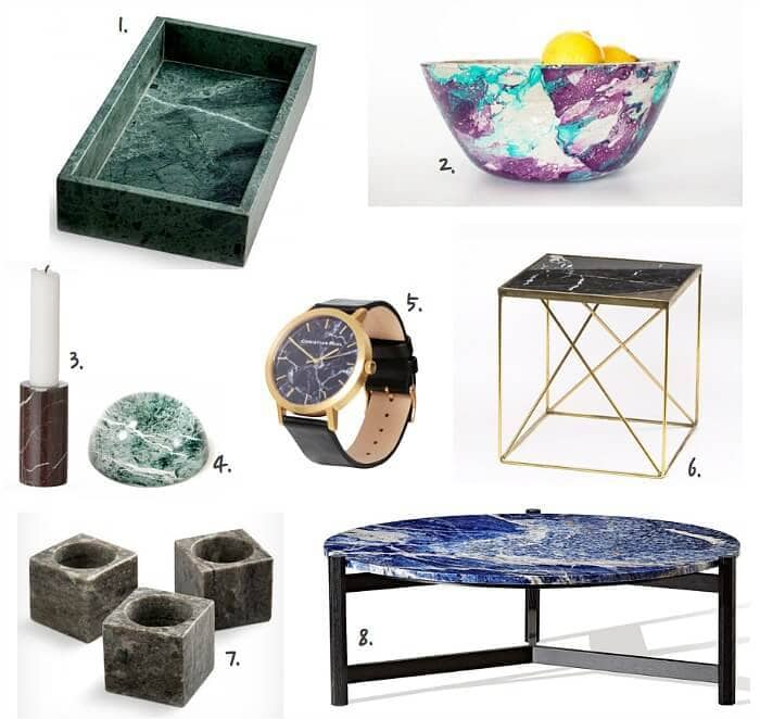 coloured marble homewares on The Life Creative