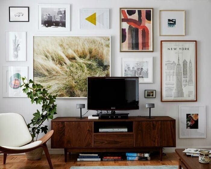 gallery wall behind TV gallery wall ideas on The Life Creative