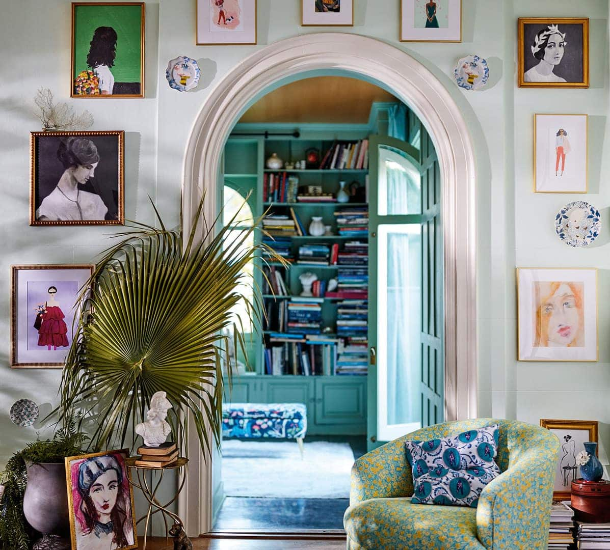 gallery wall with random placement over doorway
