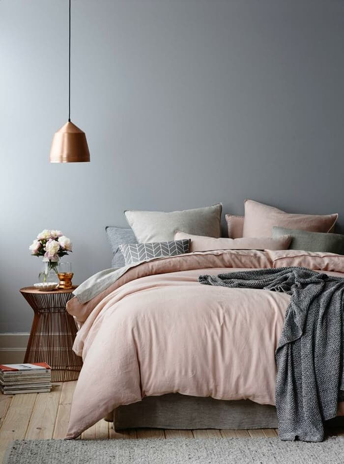 soft grey walls bedroom paint colours The Life Creative Pink and grey bedding