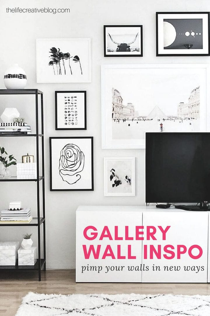 white tv unit against gallery wall featuring monochromatic art display