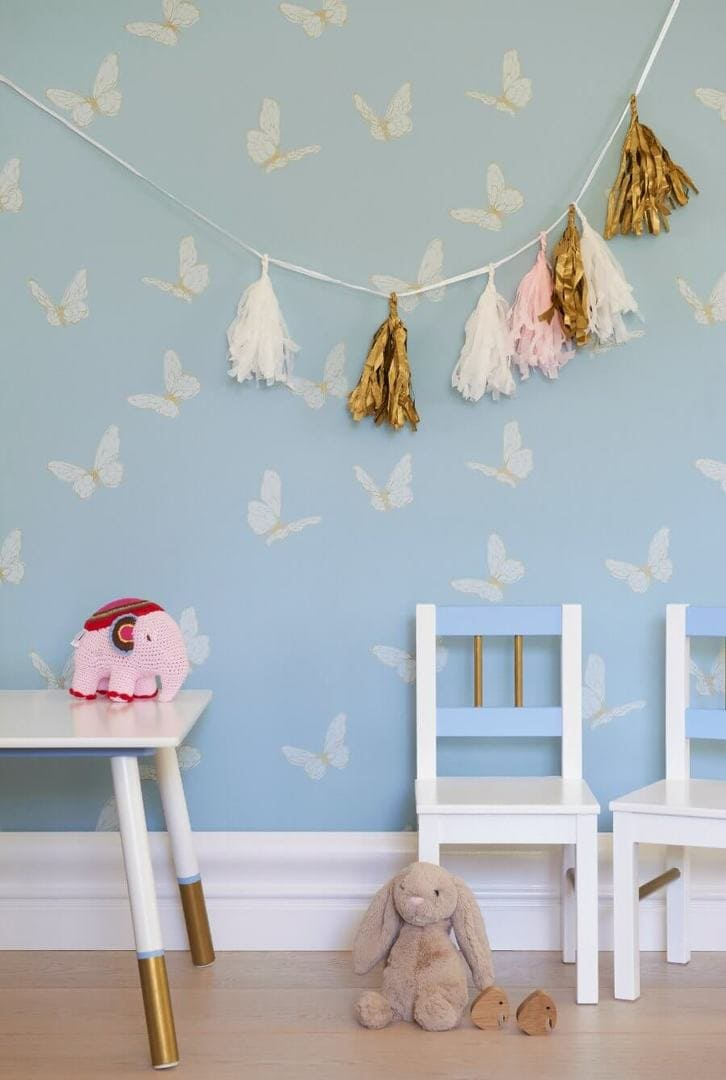 Butterfly wallpaper for kids rooms from Porters Paints The Life Creative