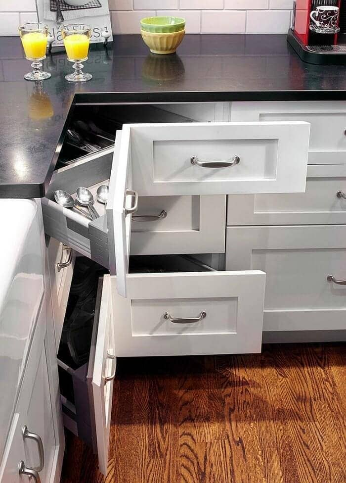 Corner cupboard drawers in shaker style kitchen small kitchen design