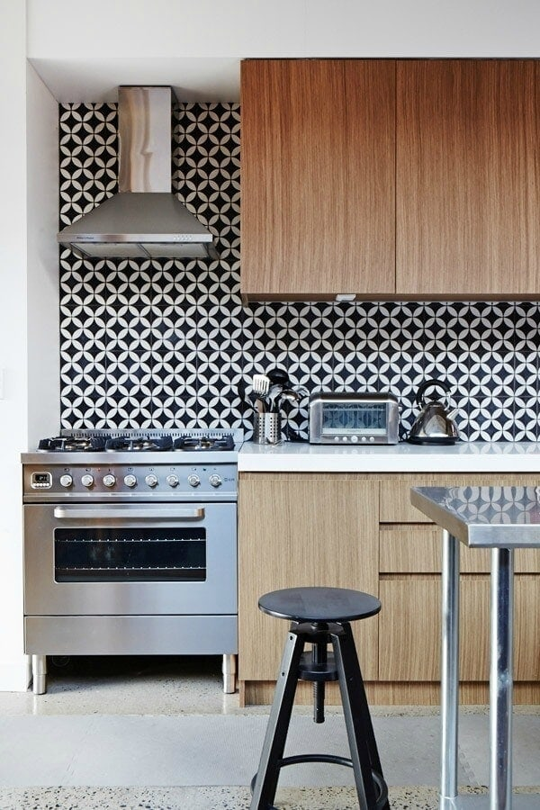 Encaustic black and white geometric kitchen tiles The Life Creative splashback tiles