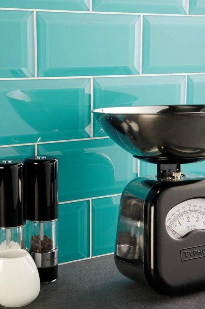 High gloss kitchen tiles glass aqua splashback tiles The Life Creative