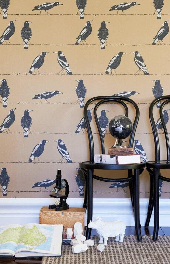 Magpie wallpaper for kids rooms from Porters Paints The Life Creative