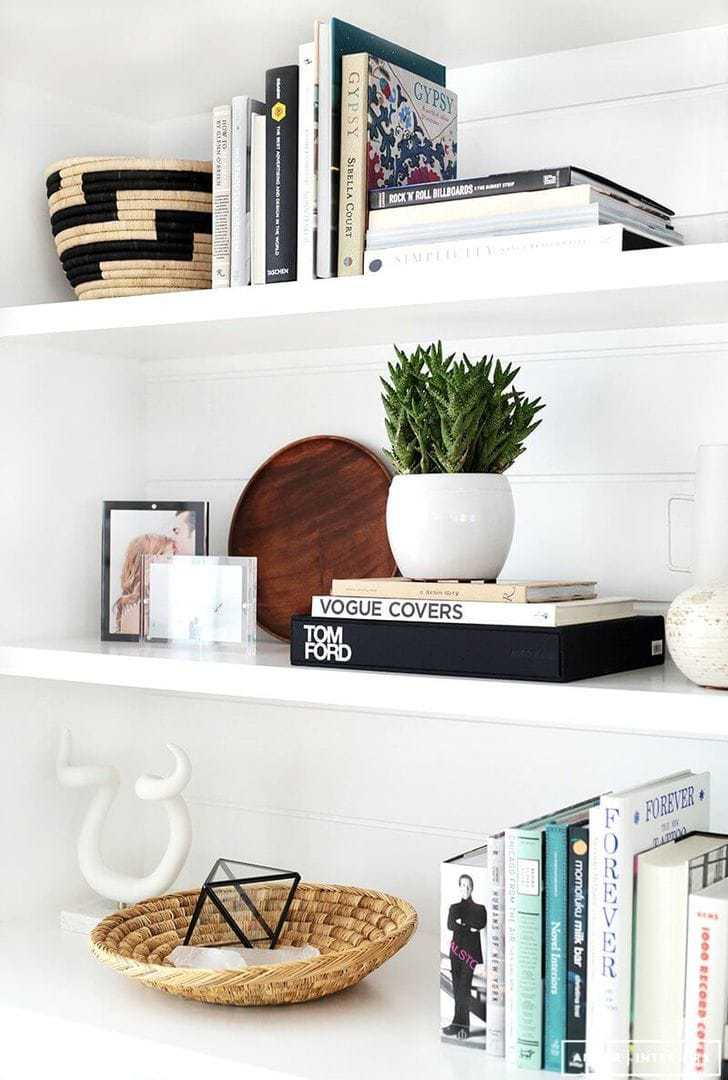 Shelf Styling Ideas white floating shelves with plant styling The Life Creative