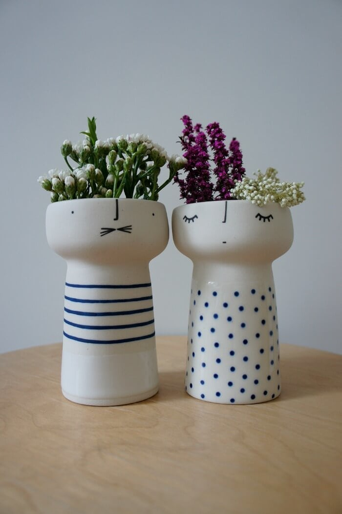 Vanessa Bean Shop ceramic face vases on TLC Interiors