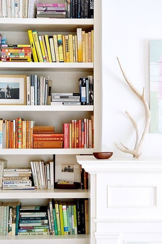 book shelf styling ideas coloured book spines on Shelf The Life Creative