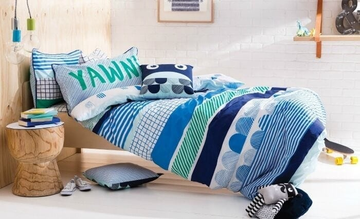 Cotton On KIDS bedding winter 2016 boys blue striped bedding