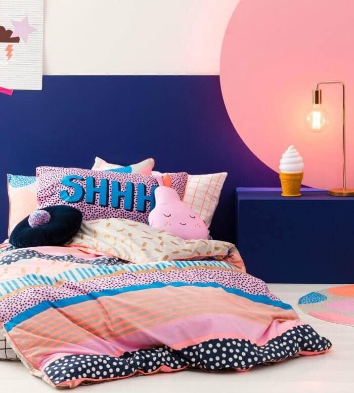 Cotton On Kids bedding winter 2016 fluro pink and orange shhh pillow and bedding