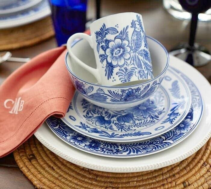 Elsie dinnerware set from Pottery Barn blue and white tableware on The Life Creative