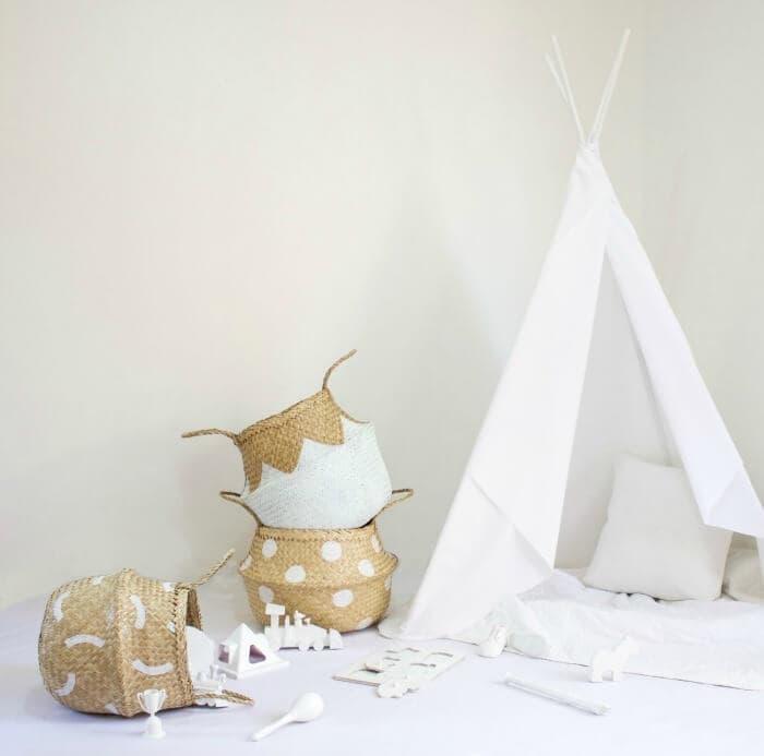 Fazeek white rattan baskets on The Life Creative