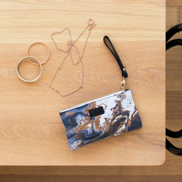 Squeak Design metallic marble handbag pouch on The Life Creative