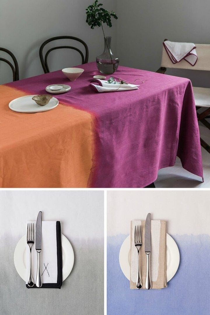 ombre tablecloth tipi interiors table linens on TLC Interiors