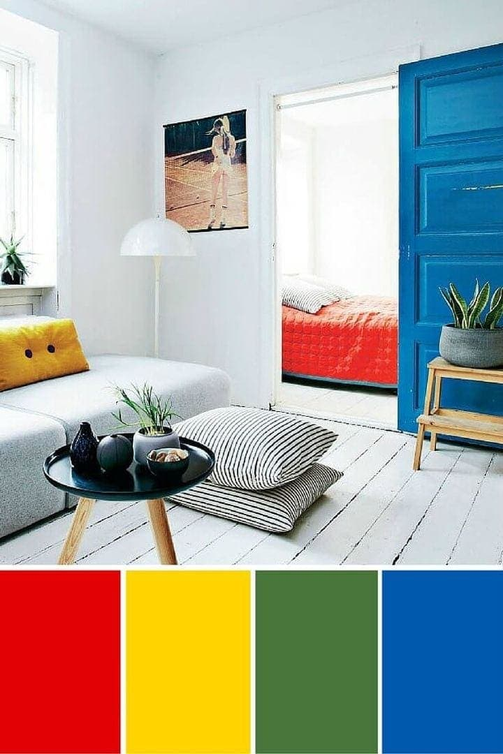 red yellow and blue interior design primary colours interior design
