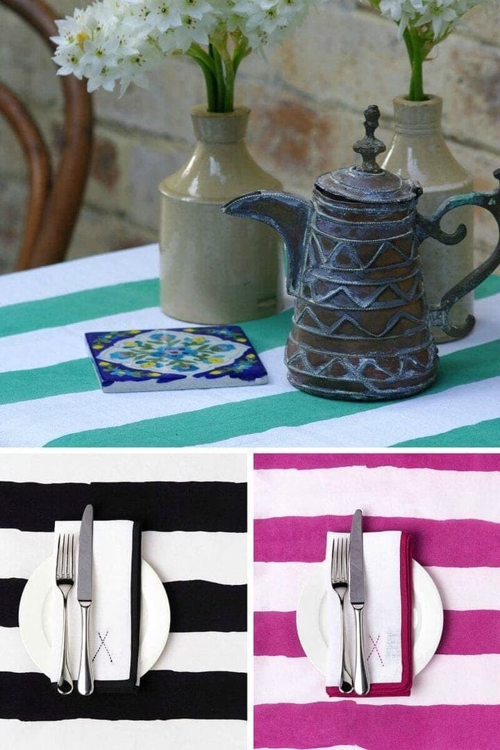 striped tablecloth table linen by tipi interiors on TLC Interiors