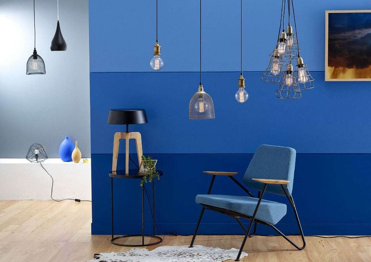 types of lighting trends for 2016 TLC Interiors blue feature wall