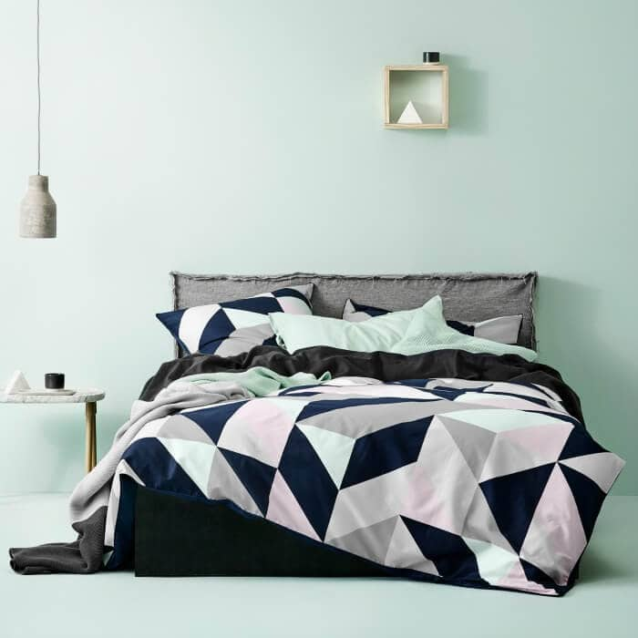 Aura Home Cinq Quilt Cover in Grey and Mint Bedroom Walls