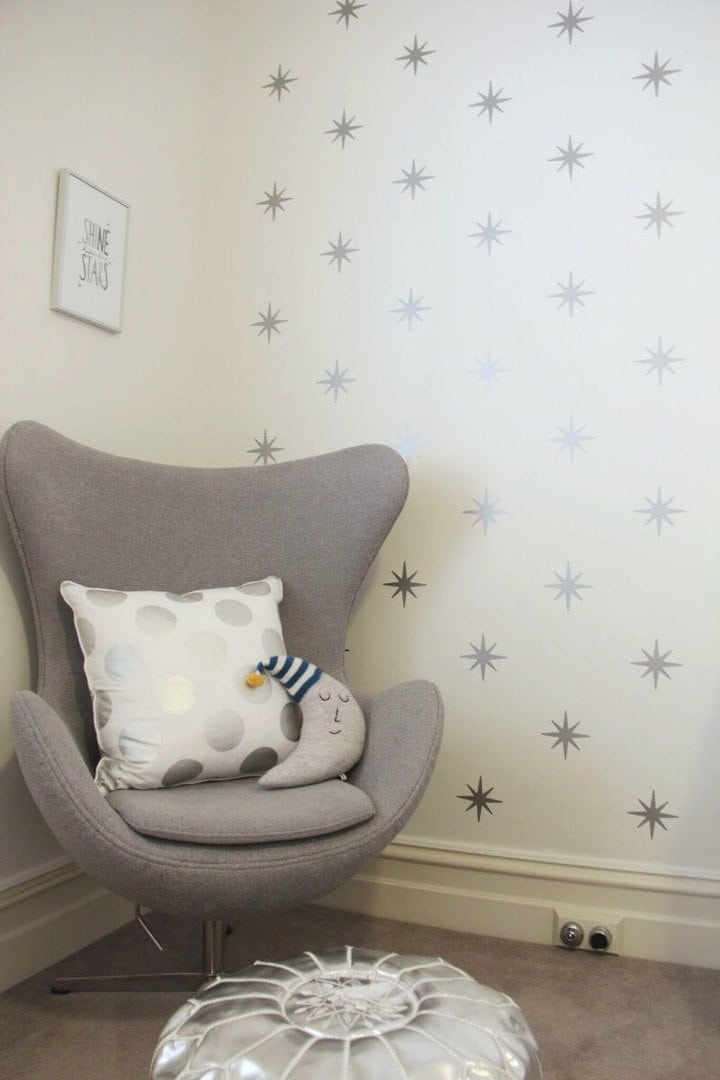Baby Room Design Armchair for Nursery in Soft Grey with Silver Moroccan Pouffe