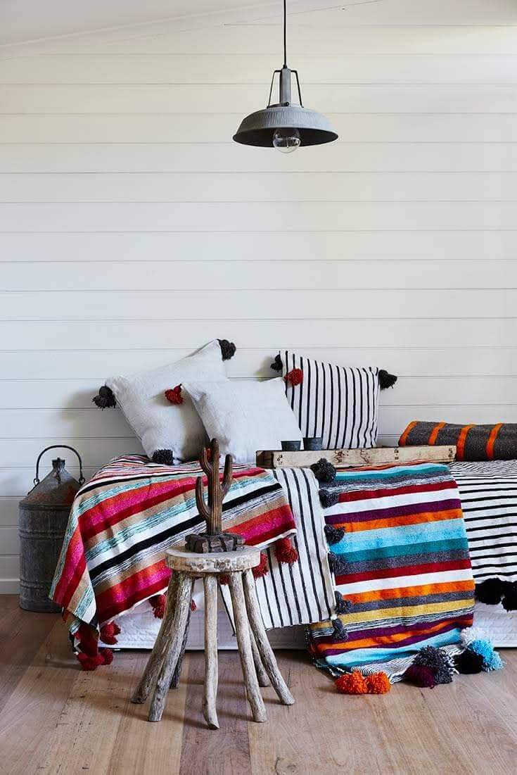 Barefoot Gypsy Moroccan Pom Pom Blankets in Striped Pattern Winter bedding Brands