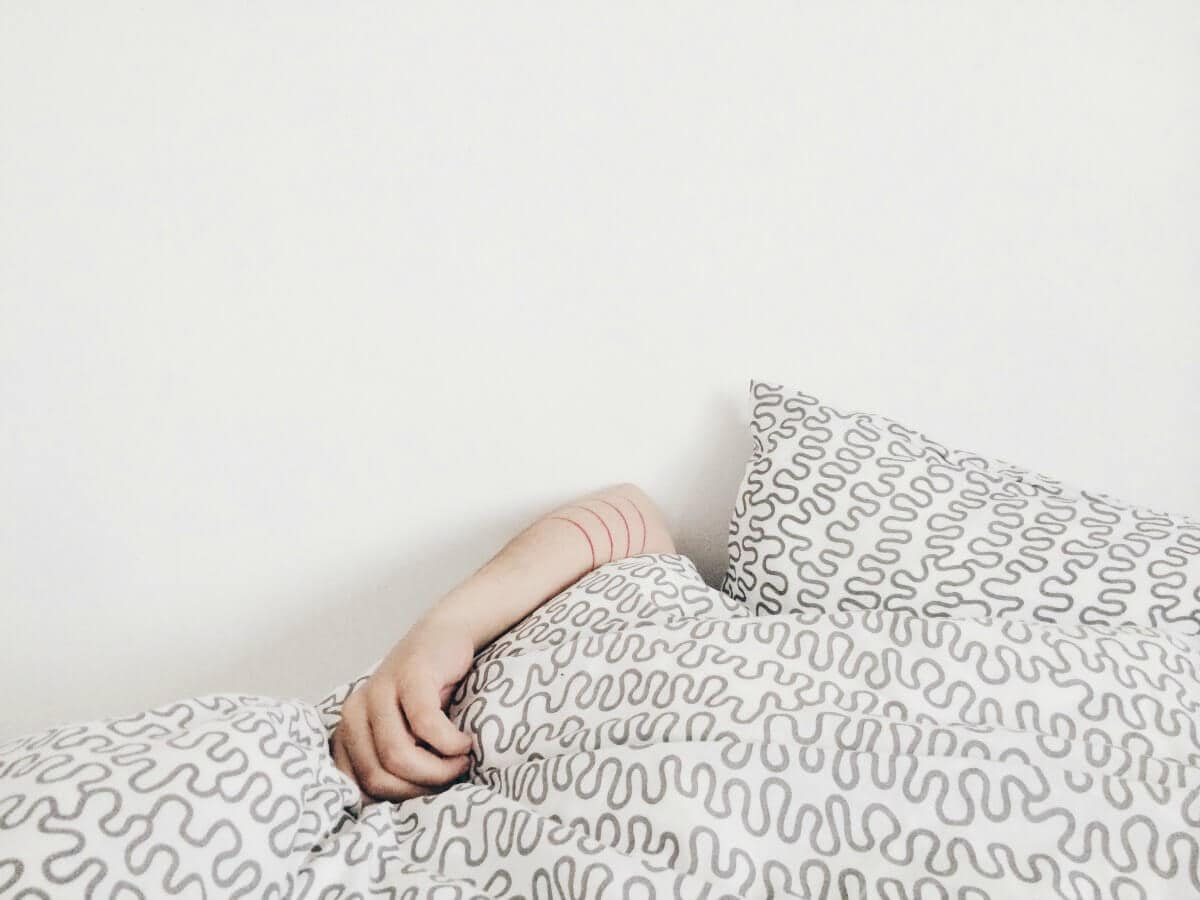 Beating Sleep Deprivation grey and white quilt cover from IKEA