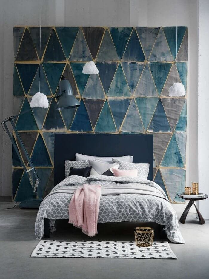 Grey and Pink Bedroom Ideas with Blue Feature wall above bed