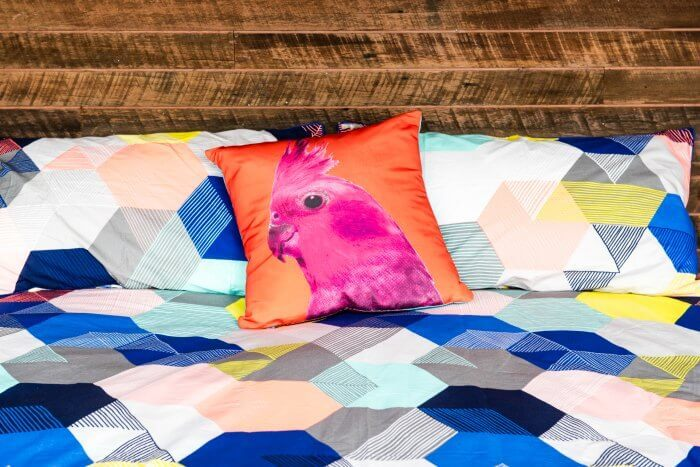 House Rules 2016 Clare and Hagan Bedroom Kmart Bird Cushion
