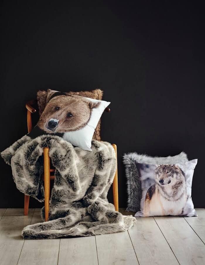 Lorraine Lea Dakota Throw with Bear Cushion and Wolf Cushion winter bedding brands
