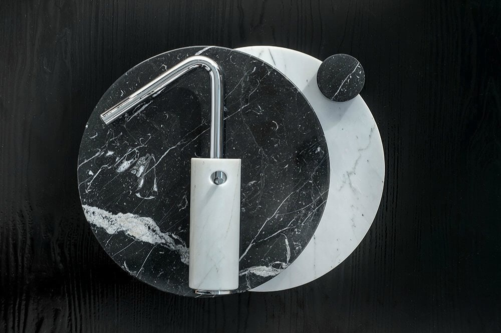Marmo marble bathroomware black and white marble tap