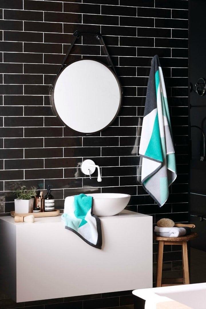 Sunday Minx Envy Bath Towel black bathroom wall tiles The Life Creative