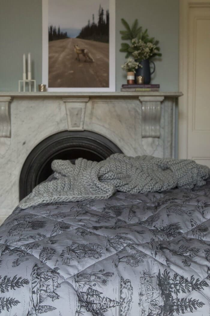 Winter Solstice quilted grey bedding by Sanctuary Boutique Linens