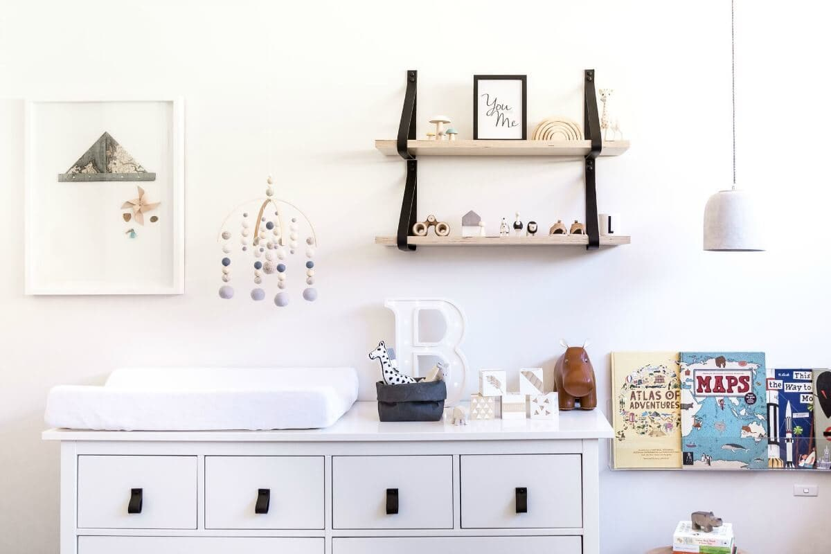 baby Room Design baby change table and baby mobile nursery ideas